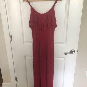 Red Spaghetti-Strap Ruffle Maxi Dress (Plus Size)